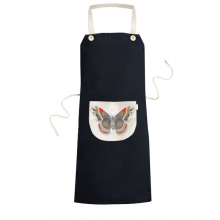 3D Kite Butterfly in Chinese Style Cooking Kitchen Black Bib Aprons With Pocket for Women Men Chef Gifts