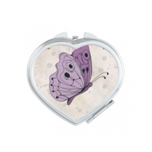 Purple Butterfly With Quote Heart Compact Makeup Pocket Mirror Portable Cute Small Hand Mirrors Gift