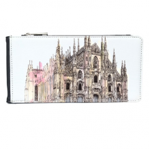 Milan Cathedral in Milan Italy Multi-Card Faux Leather Rectangle Wallet Card Purse Gift