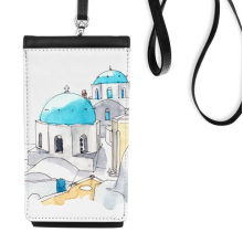 Imerovigli Village in Santorini Greece Faux Leather Smartphone Hanging Purse Black Phone Wallet Gift