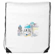 Imerovigli Village in Santorini Greece Drawstring Backpack Shopping Gift Sports Bags