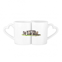 Stonehenge in  Wiltshire England Lovers' Mug Lover Mugs Set White Pottery Ceramic Cup Gift with Handles