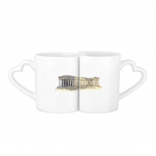 Acropolis of Athens of Greece Lovers' Mug Lover Mugs Set White Pottery Ceramic Cup Gift with Handles