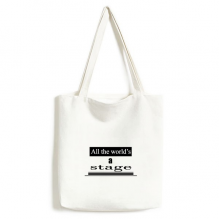 Shakespeare World Is A Stage Environmentally Tote Canvas Bag Shopping Handbag Craft Washable