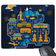 South Korea Famous night view Rectangle Non-Slip Rubber Mousepad Game Mouse Pad Gift
