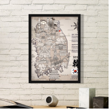 1945 South Korea Landmarks  Map Simple Picture Frame Art Prints Paintings Home Wall Decal Gift