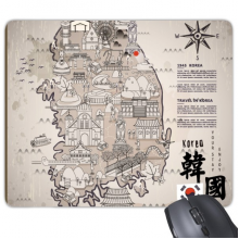 1945 South Korea Landmarks  Map Rectangle Non-Slip Rubber Mousepad Game Mouse Pad Gift
