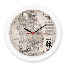 1945 South Korea Landmarks  Map Silent Non-ticking Round Wall Decorative Clock Battery-operated Clocks Gift Home Decal