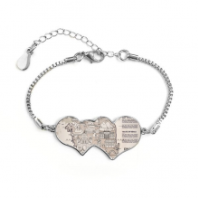 1945 South Korea Landmarks  Map Double Hearts Shape Round-Cut Cubic Chain Bracelet Love Gifts