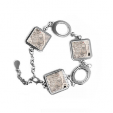 1945 South Korea Landmarks  Map Square Shape Metal Bracelet Love Gifts Jewelry With Chain Decoration