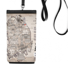 1945 South Korea Landmarks  Map Faux Leather Smartphone Hanging Purse Black Phone Wallet Gift