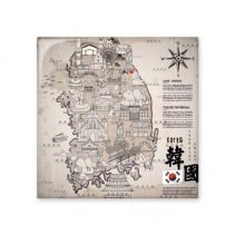 1945 South Korea Landmarks  Map Ceramic Bisque Tiles Bathroom Decor Kitchen Ceramic Tiles Wall Tiles