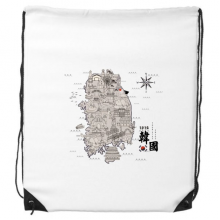 1945 South Korea Landmarks  Map Drawstring Backpack Shopping Handbag Gift Sports Bags