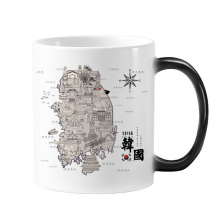 1945 South Korea Landmarks  Map Morphing Heat Sensitive Changing Color Mug Cup Gift Milk Coffee With Handles 350 ml