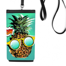 American Comic Style Pineapple Fruit Phone Wallet Purse Hanging Mobile Pouch Black Pocket