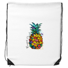 Strong Color Pineapple Tropical Fruit Drawstring Backpack Shopping Gift Sports Bags