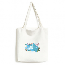 Winter Season Illustration Environmentally Tote Canvas Bag Shopping Handbag Craft Washable