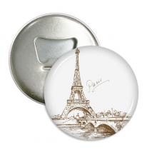 The Eiffel Tower Paris France Round Bottle Opener Refrigerator Magnet Pins Badge Button Gift 3pcs