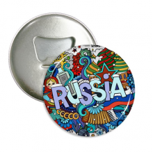 Russia  Winter  Accordion Casino Illustration Round Bottle Opener Refrigerator Magnet Pins Badge Button Gift 3pcs