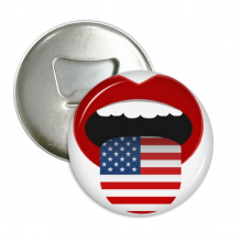 America Flag Red Lips Sexy Girl Round Bottle Opener Refrigerator Magnet Pins Badge Button Gift 3pcs