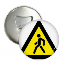 Warning Symbol Yellow Black Step Across Triangle Round Bottle Opener Refrigerator Magnet Pins Badge Button Gift 3pcs