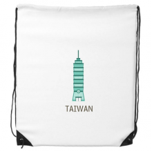 Taiwan Attractions 101 Building Travel Drawstring Backpack Shopping Gift Sports Bags