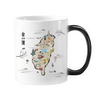 Map Taiwan Travel Features Morphing Heat Sensitive Changing Color Mug Cup Gift Milk Coffee With Handles 350 ml