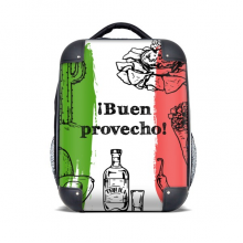 Mexico Sketch Cuisine Flag Round Cactus Hard Case Shoulder Carrying Children Backpack Gift 15""