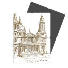 St.Paul's Cathedral England London Refrigerator Magnet Puzzle Home Decal Magnetic Stickers (set of 4)