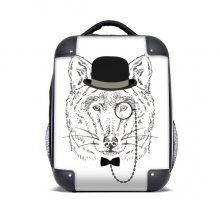 British Style Gentle Wolf With Hat Bow Tie Glass Hard Case Shoulder Carrying Children Backpack Gift 15""