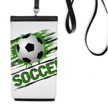 Green Soccer Football Sports Faux Leather Smartphone Hanging Purse Black Phone Wallet Gift