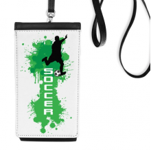 Text Soccer Football Sports Faux Leather Smartphone Hanging Purse Black Phone Wallet Gift