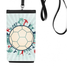 Earth Trees Soccer Football Sports Faux Leather Smartphone Hanging Purse Black Phone Wallet Gift