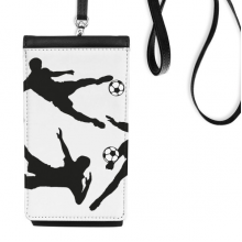 Surround Soccer Football Silhouettes Sports Faux Leather Smartphone Hanging Purse Black Phone Wallet Gift
