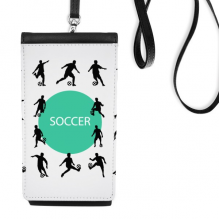Football soccer Sports Silhouettes Faux Leather Smartphone Hanging Purse Black Phone Wallet Gift