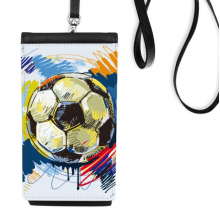 Football soccer  Sports Painted Faux Leather Smartphone Hanging Purse Black Phone Wallet Gift