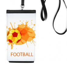 Football soccer orange Sports Faux Leather Smartphone Hanging Purse Black Phone Wallet Gift