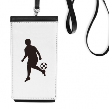 Football soccer Sports Silhouette Faux Leather Smartphone Hanging Purse Black Phone Wallet Gift
