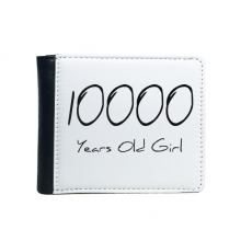 10000 years old Girl Age Flip Bifold Faux Leather Wallet  Multi-Function Card Purse Gift