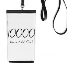 10000 years old Girl Age Faux Leather Smartphone Hanging Purse Black Phone Wallet Gift