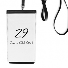 29 years old Girl Age Faux Leather Smartphone Hanging Purse Black Phone Wallet Gift