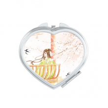 Xinghua Swallow Chinese Style Watercolor Heart Mirror Travel Magnification Portable Handheld Pocket Makeup