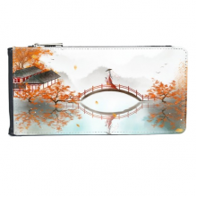 Jincheng Autumn Chinese Style Watercolor Multi-Card Faux Leather Rectangle Wallet Card Purse Gift