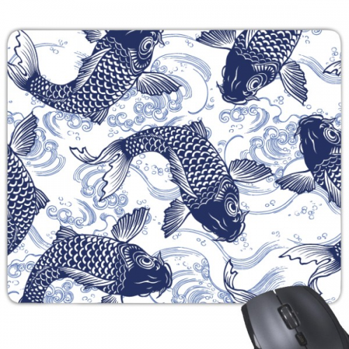 Carp Wave Blue Pattern Japan Mouse Pad Non-Slip Rubber Mousepad Game Office