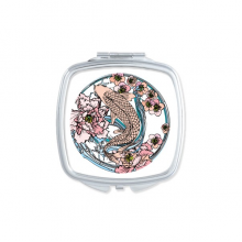 Carp Pink Lotus Pattern Geometry Square Mirror Portable Compact Pocket Makeup Double Sided Glass