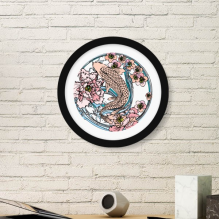 Carp Pink Lotus Pattern Geometry Round Decoration Frame Art Exhibition Painting Home Wall Decor