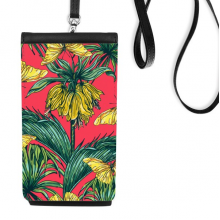 Flower Plant Leaf Pink Butterfly Faux Leather Smartphone Hanging Purse Black Phone Wallet Gift