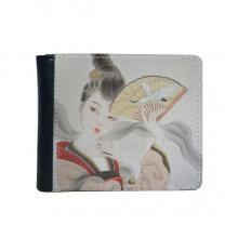 Beauty Folding Fan Chinese Painting Flip Bifold Faux Leather Wallet  Multi-Function Card Purse Gift