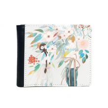 Boygirl Chinese Classical Style Illustrator Flip Bifold Faux Leather Wallet  Multi-Function Card Purse Gift
