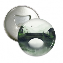 Southern Season Chinese Style Watercolor Round Bottle Opener Refrigerator Magnet Pins Badge Button Gift 3pcs